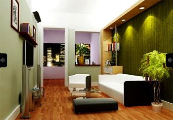 warna cat ruang tamu hijau