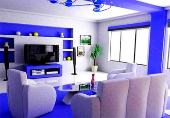 kombinasi warna cat ruang tamu biru dan putih