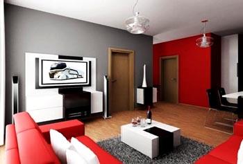 kombinasi warna cat ruang tamu abu abu dan merah